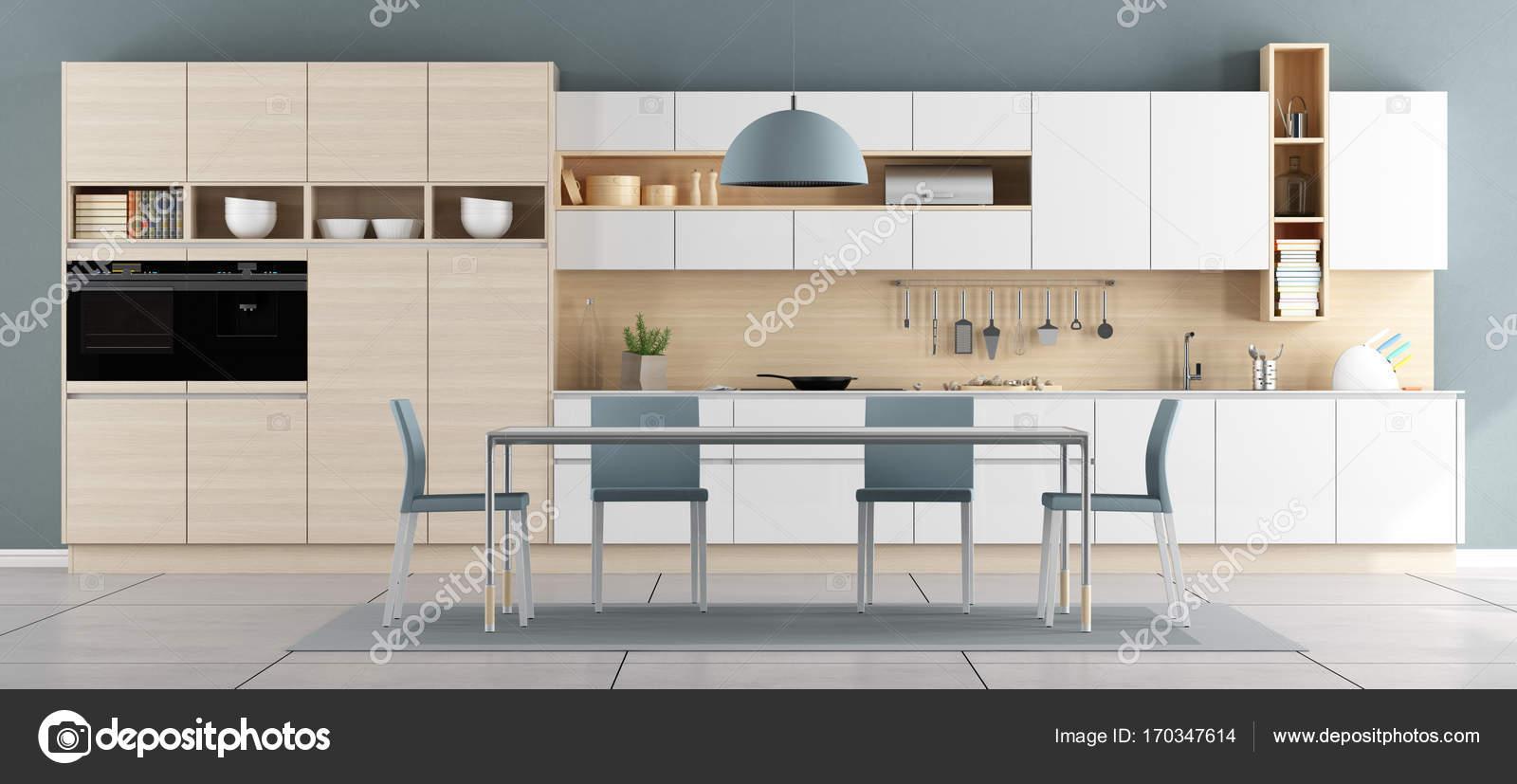 Blaue und weiße moderne Küche — Stockfoto © archideaphoto #170347614