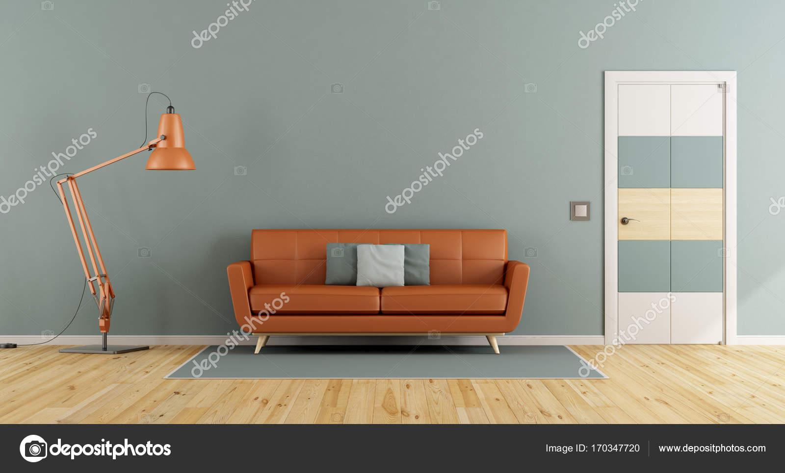 Blauen Wohnzimmer mit orange sofa — Stockfoto © archideaphoto #170347720