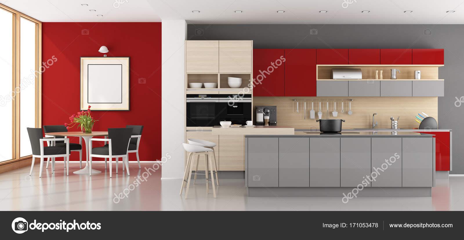 Cucina moderna rossa e grigia — Foto Stock © archideaphoto ...
