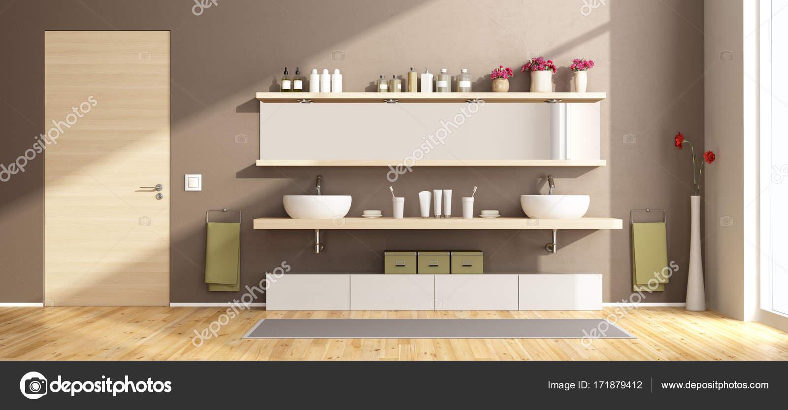 Ripiani In Legno Per Bagno : Moderno bagno con lavabi su ripiano in legno u foto stock
