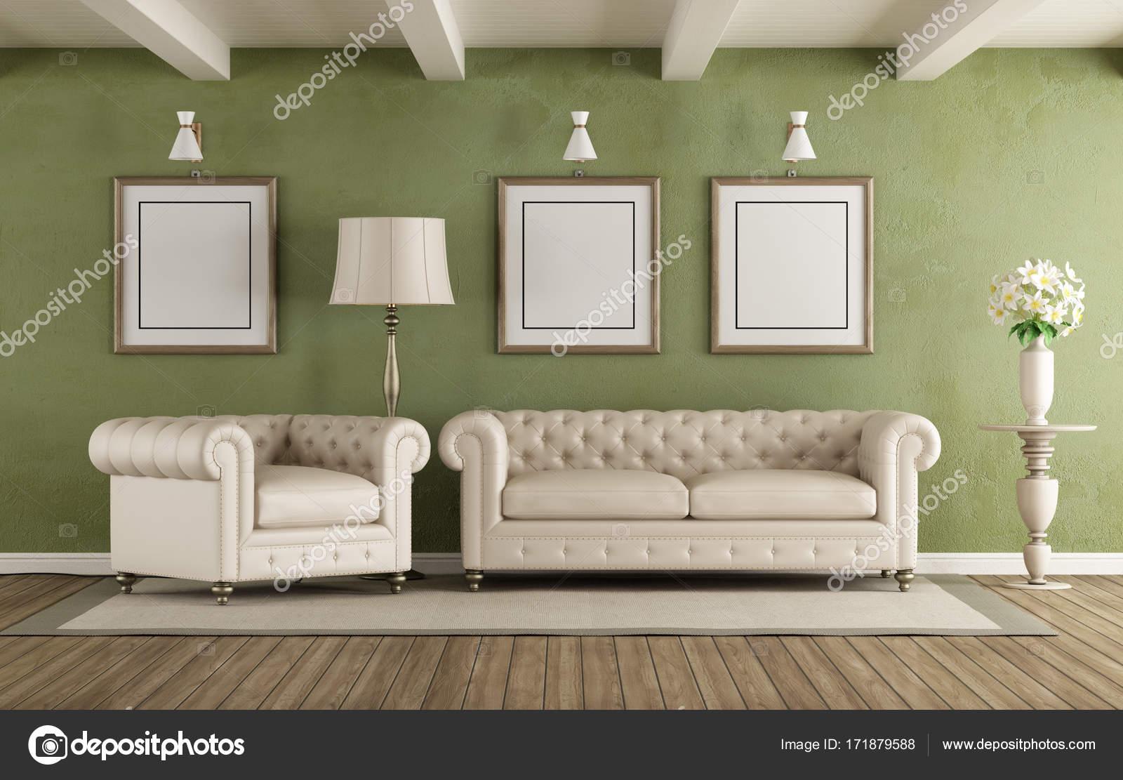 Salotto classico verde e bianco — Foto Stock © archideaphoto #171879588