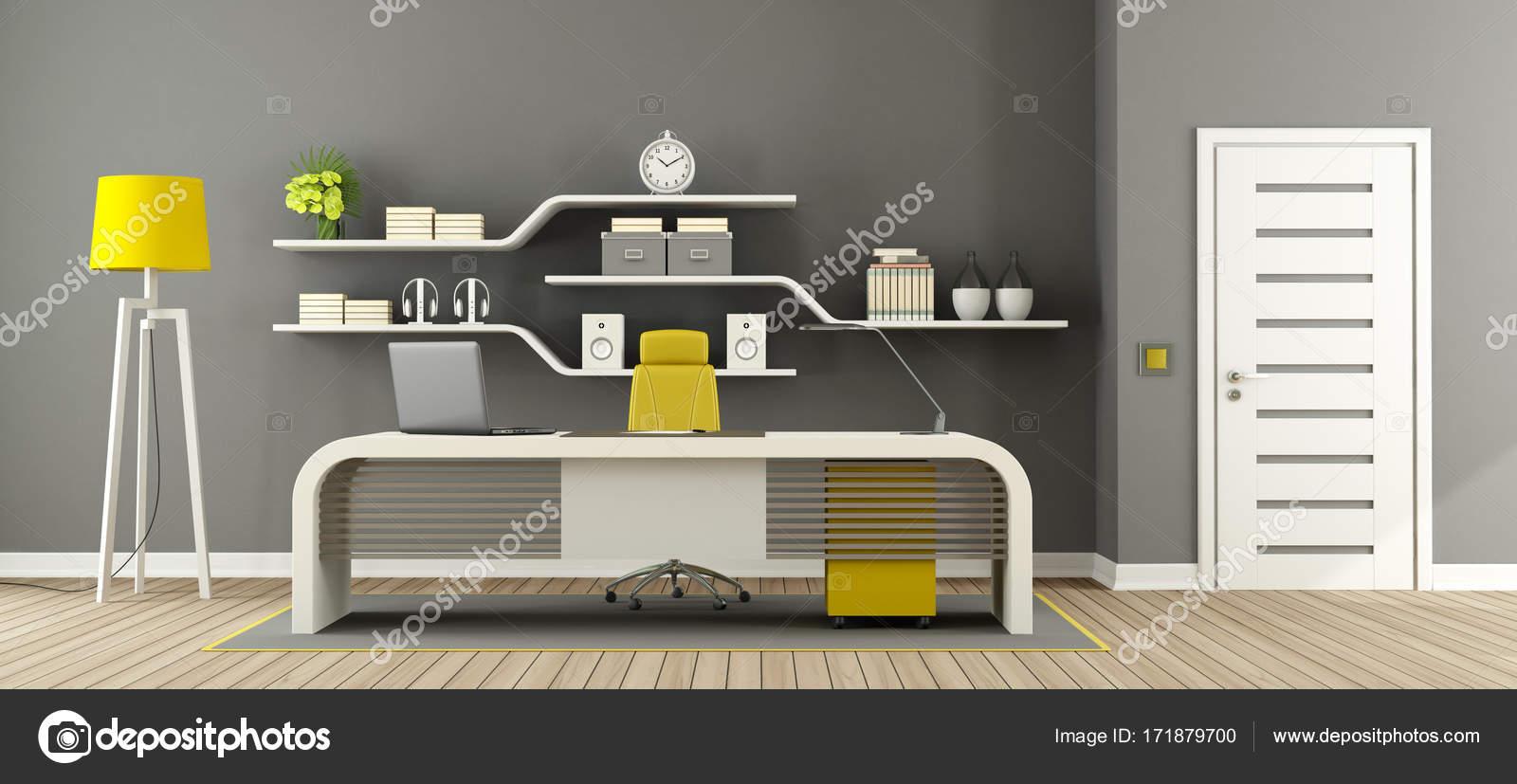 Ufficio Bianco E Grigio : Ufficio moderno grigio bianco e giallo u2014 foto stock © archideaphoto