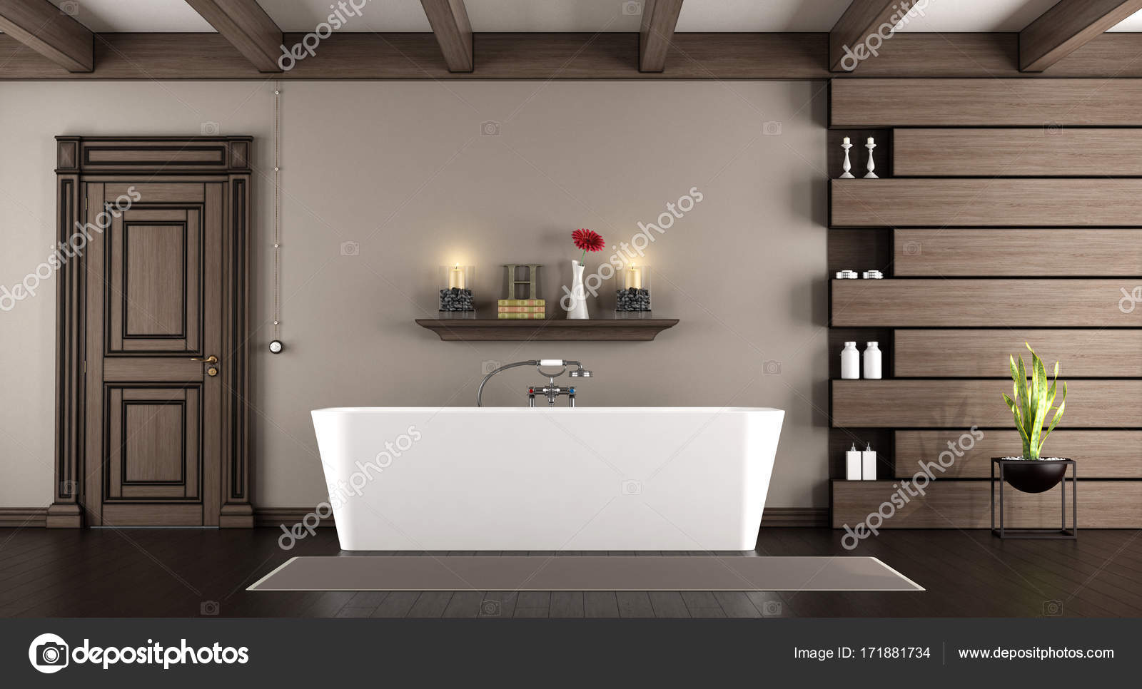 Baignoire moderne dans une salle de bain classique — Photographie ...