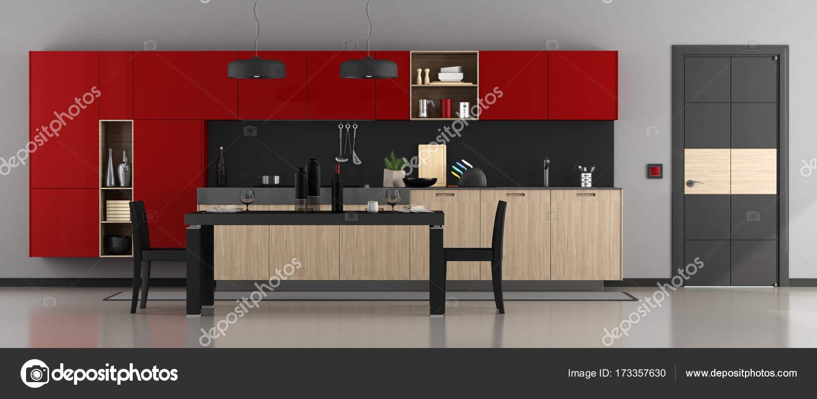 Cucina moderna rossa e nera — Foto Stock © archideaphoto #173357630