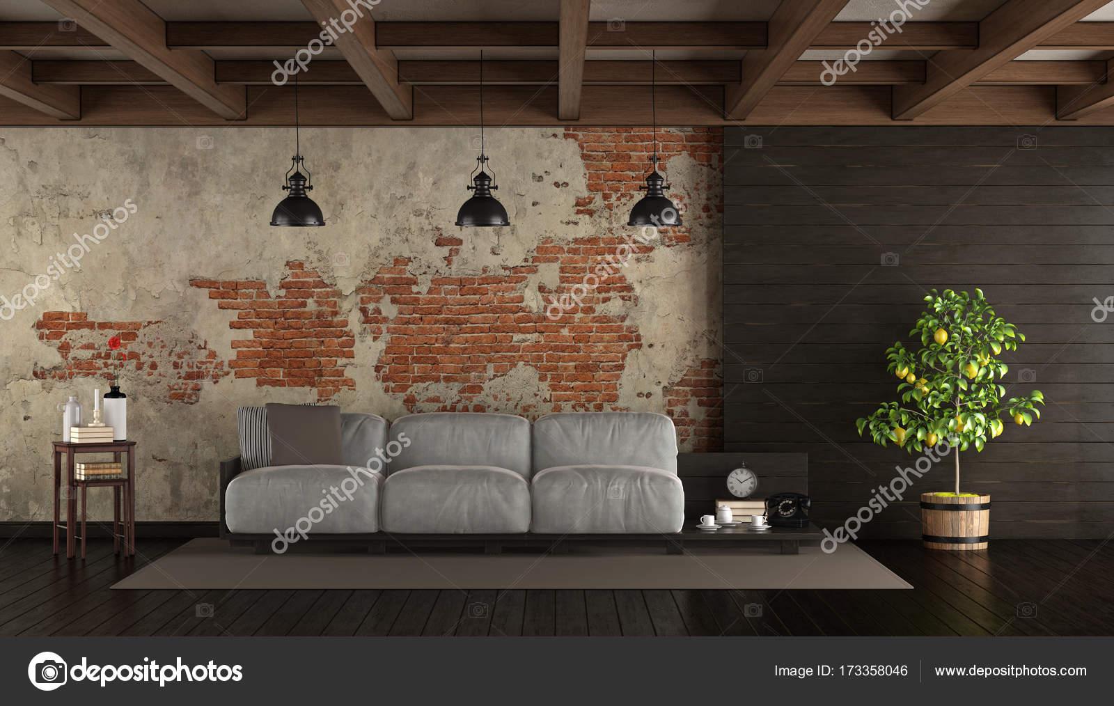 donkere woonkamer in rustieke stijl met pallet bank muur en houten lambrisering 3d rendering foto van archideaphoto