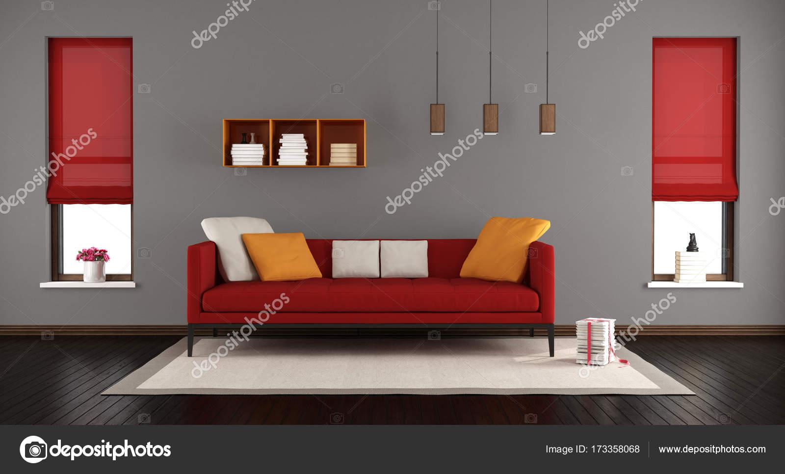 Salon moderne gris et rouge — Photographie archideaphoto © #173358068