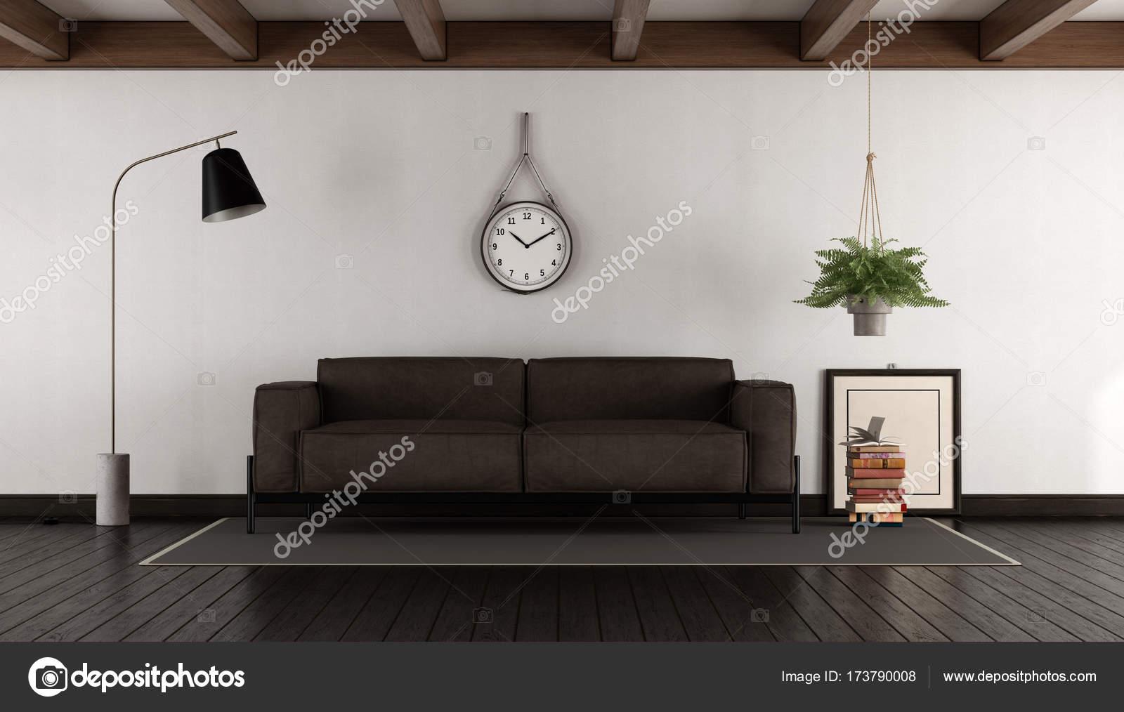 Salon avec canapé marron — Photographie archideaphoto © #173790008