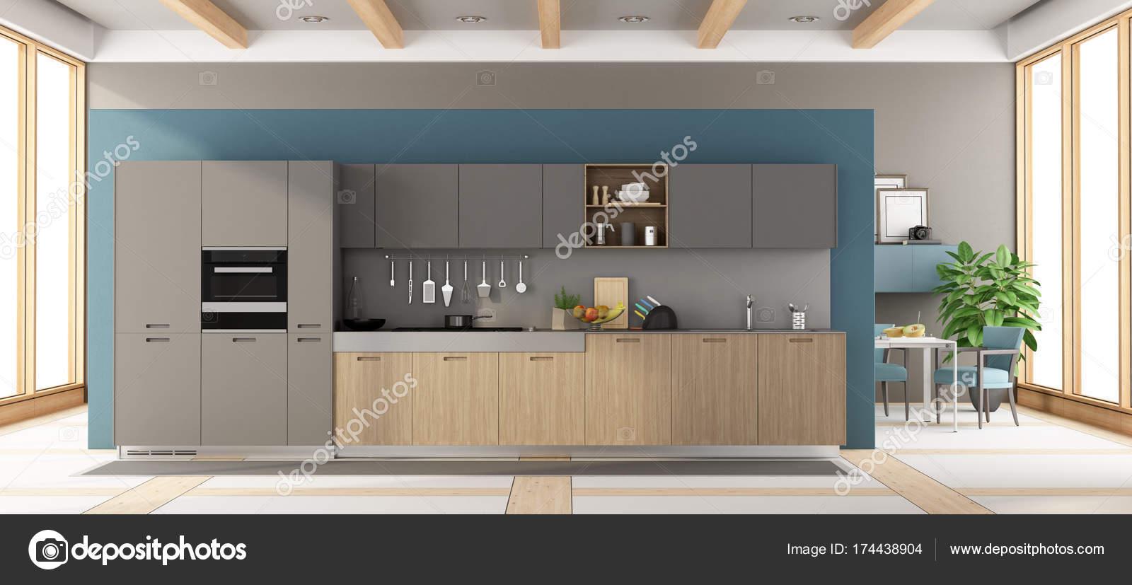 Grijze Houten Keuken : Moderne grijze en houten keuken u stockfoto archideaphoto