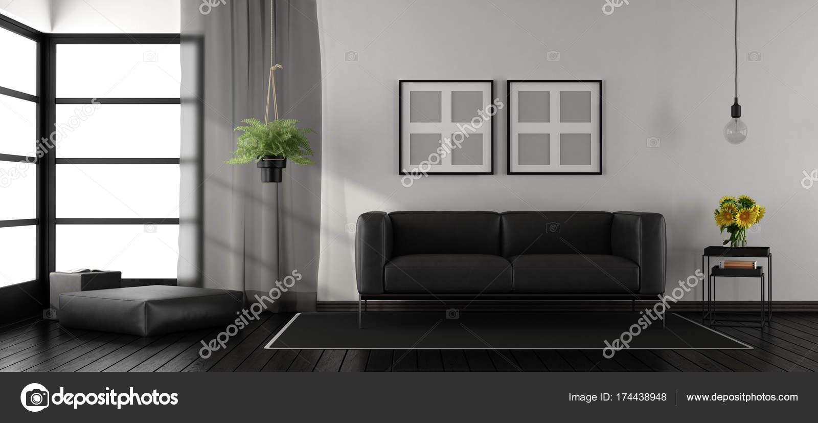 Schwarz / weiß minimalistischen Wohnzimmer — Stockfoto ...