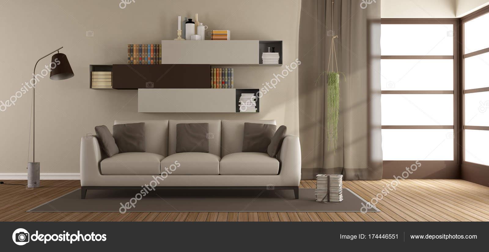 Salon beige et marron — Photographie archideaphoto © #174446551