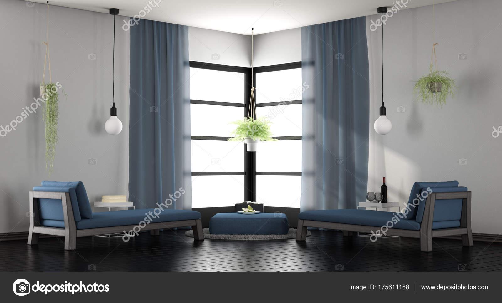 Moderne wit en blauw lounge u stockfoto archideaphoto