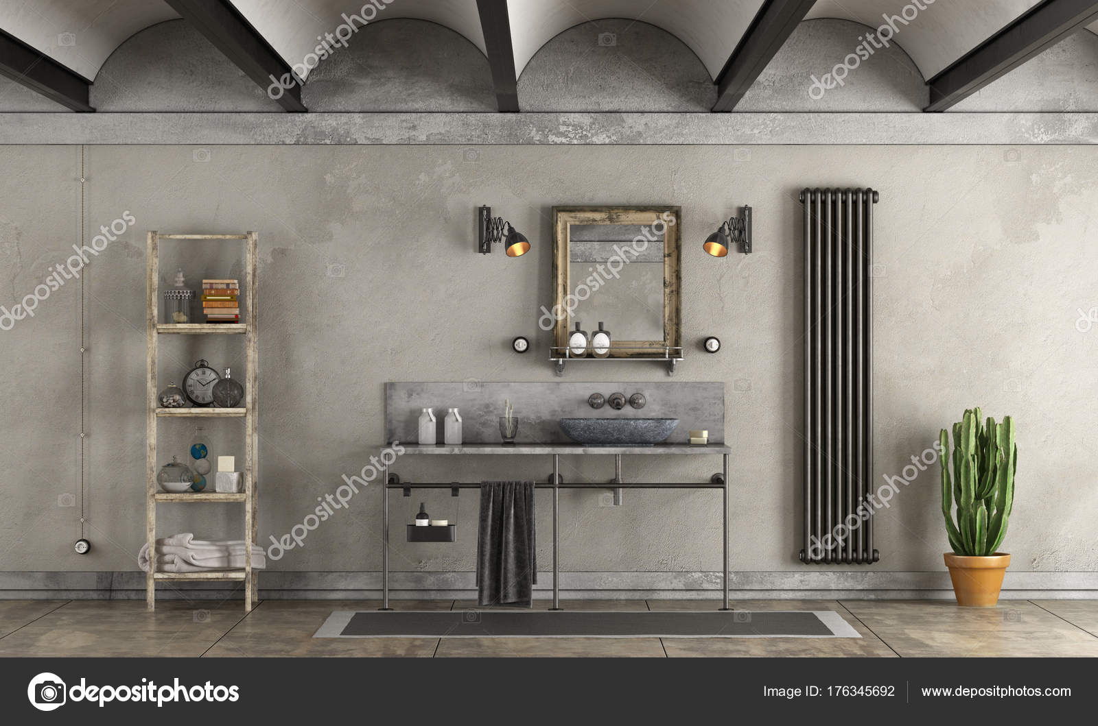 Lazienka W Stylu Industrialnym Zdjecie Stockowe C Archideaphoto