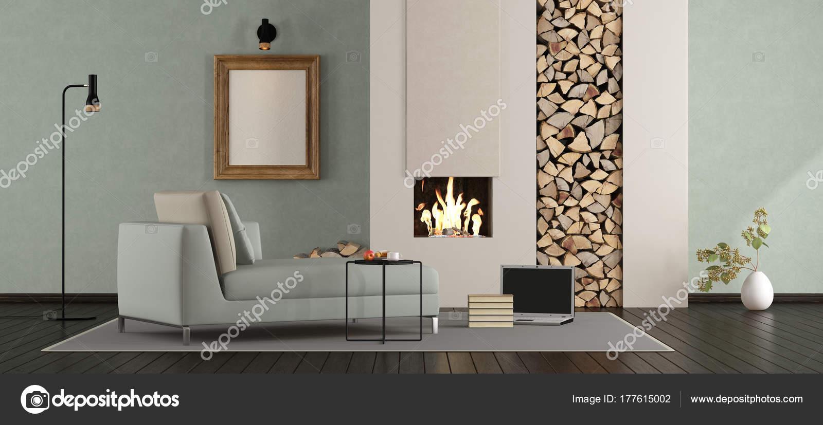 Minimalistische lounge met open haard u stockfoto archideaphoto