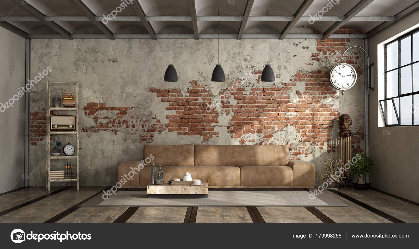 Schon Wohnzimmer Im Industriellen Stil U2014 Stockfoto