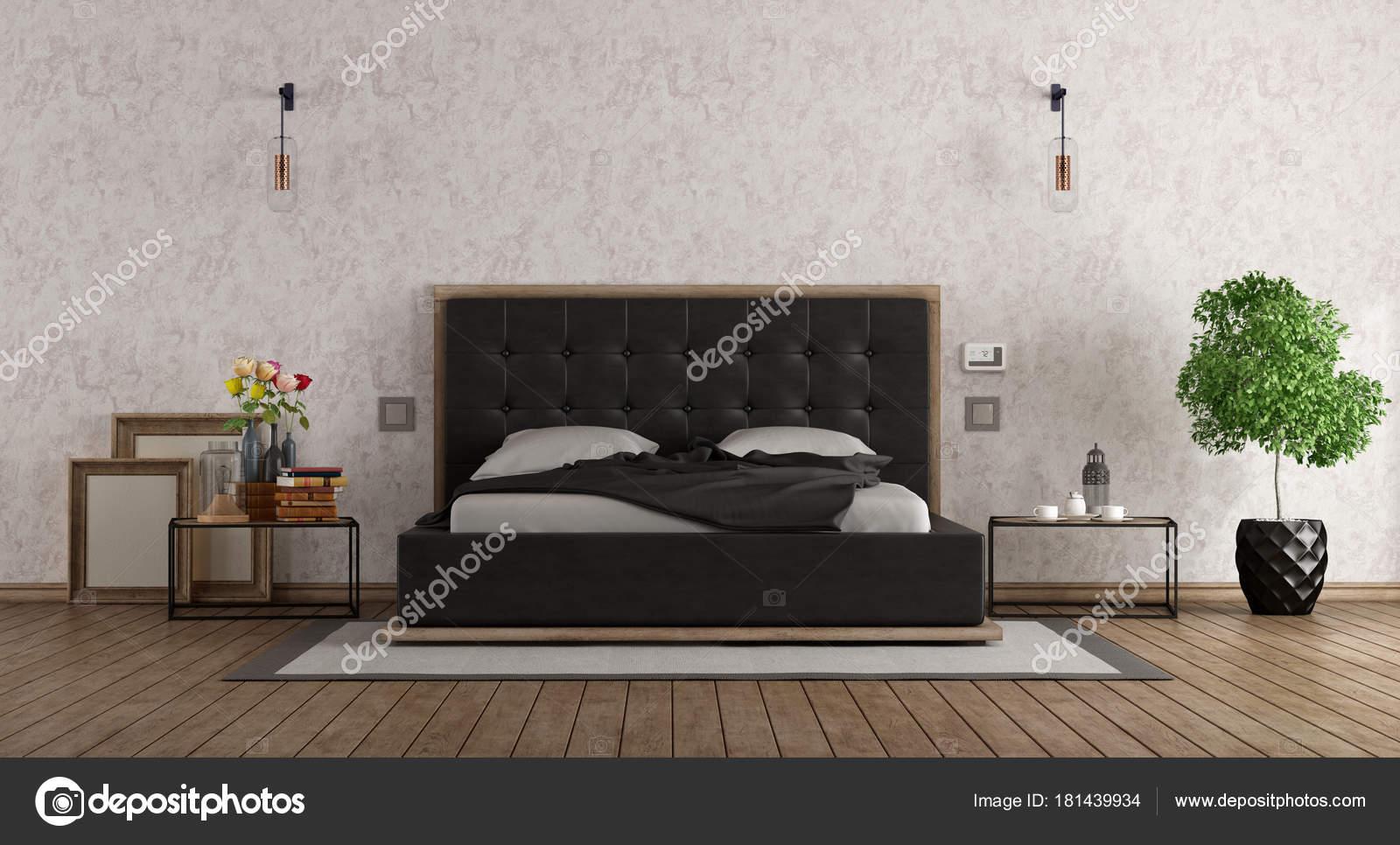 Zwart wit slaapkamer u stockfoto archideaphoto