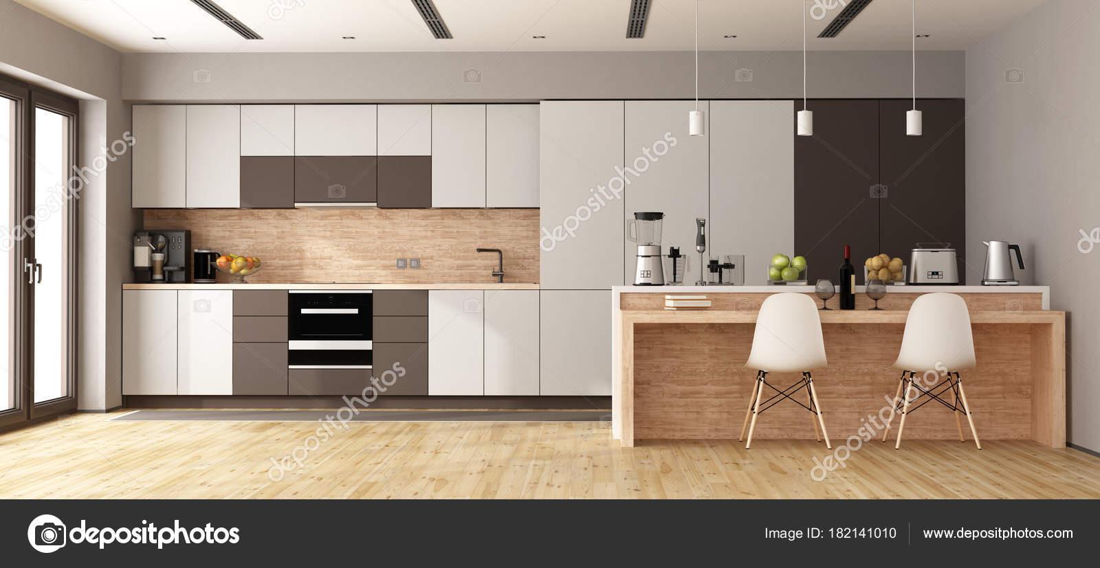 Cucina moderna bianca e marrone — Foto Stock © archideaphoto #182141010