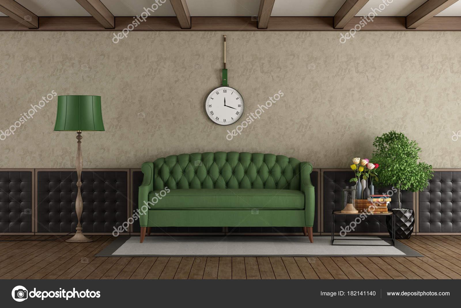Salon Classique Avec Canap Vert Photographie Archideaphoto  # Salon Meuble En Vert