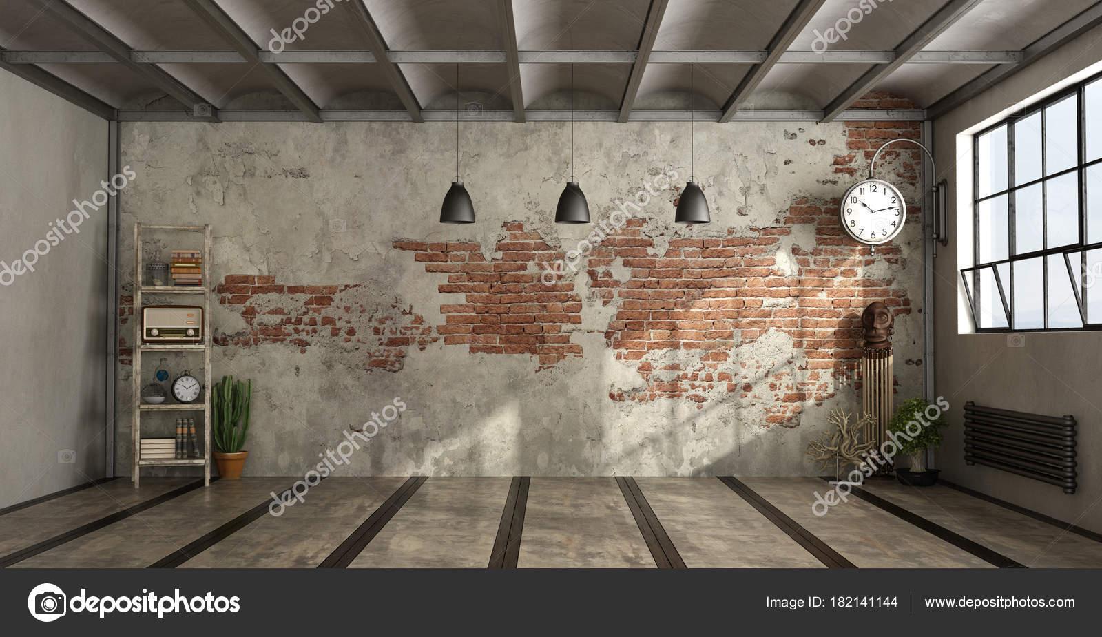 Lege woonkamer in industri le stijl stockfoto for Industriele stijl