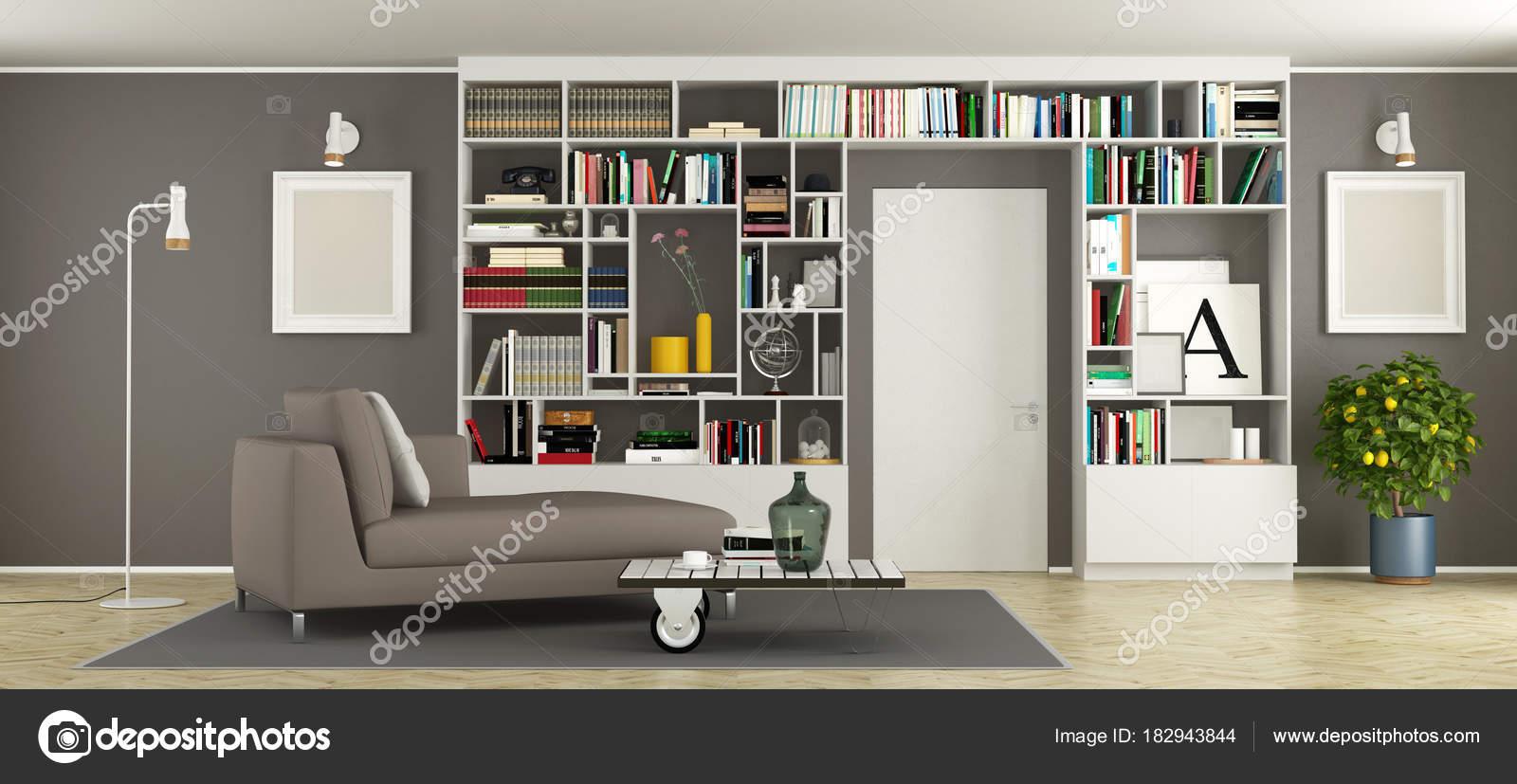 Modernes Wohnzimmer Mit Bücherregal, Tagesbett Und Geschlossener Tür   3d  Rendering U2014 Foto Von Archideaphoto