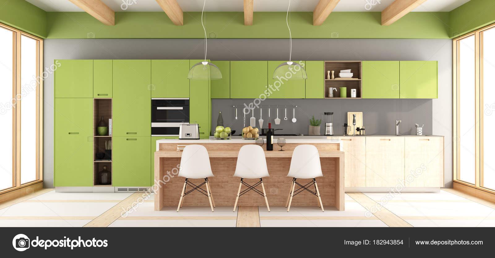 Groene en grijze moderne keuken u stockfoto archideaphoto