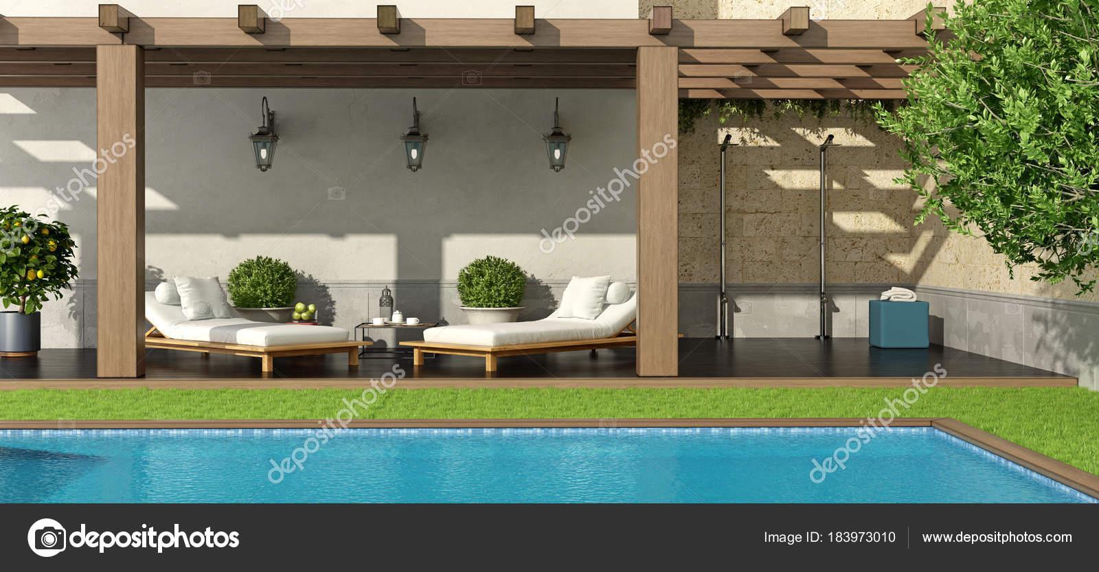Jardin avec pergola et piscine photographie archideaphoto 183973010 - Pergola piscine ...