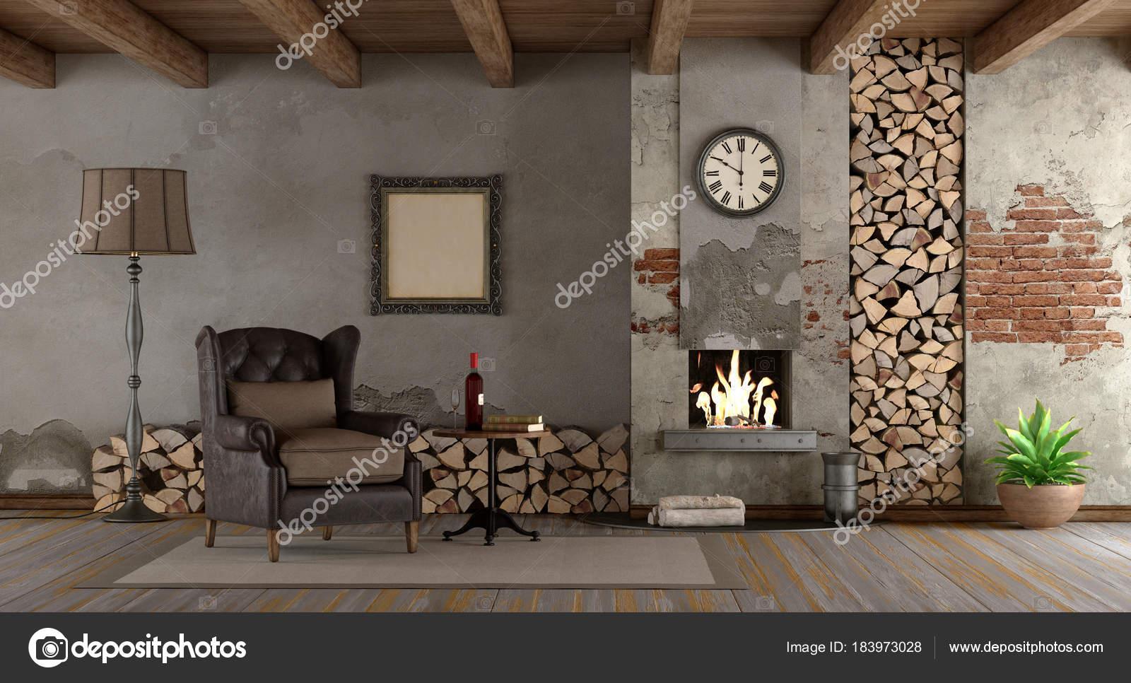 Retro woonkamer met open haard — Stockfoto © archideaphoto #183973028