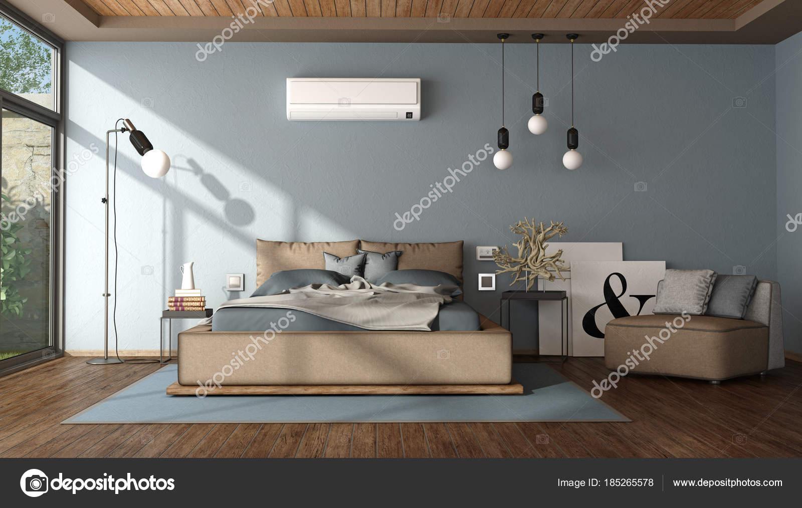 Moderne Blau Und Braun Master Schlafzimmer U2014 Stockfoto