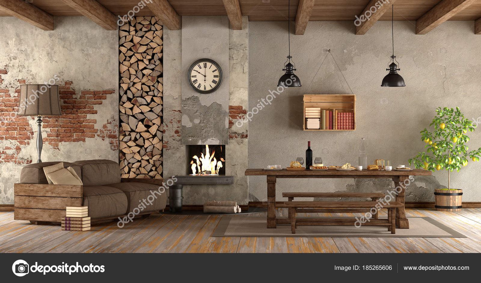 woonkamer met open haard in rustieke stijl — Stockfoto ...