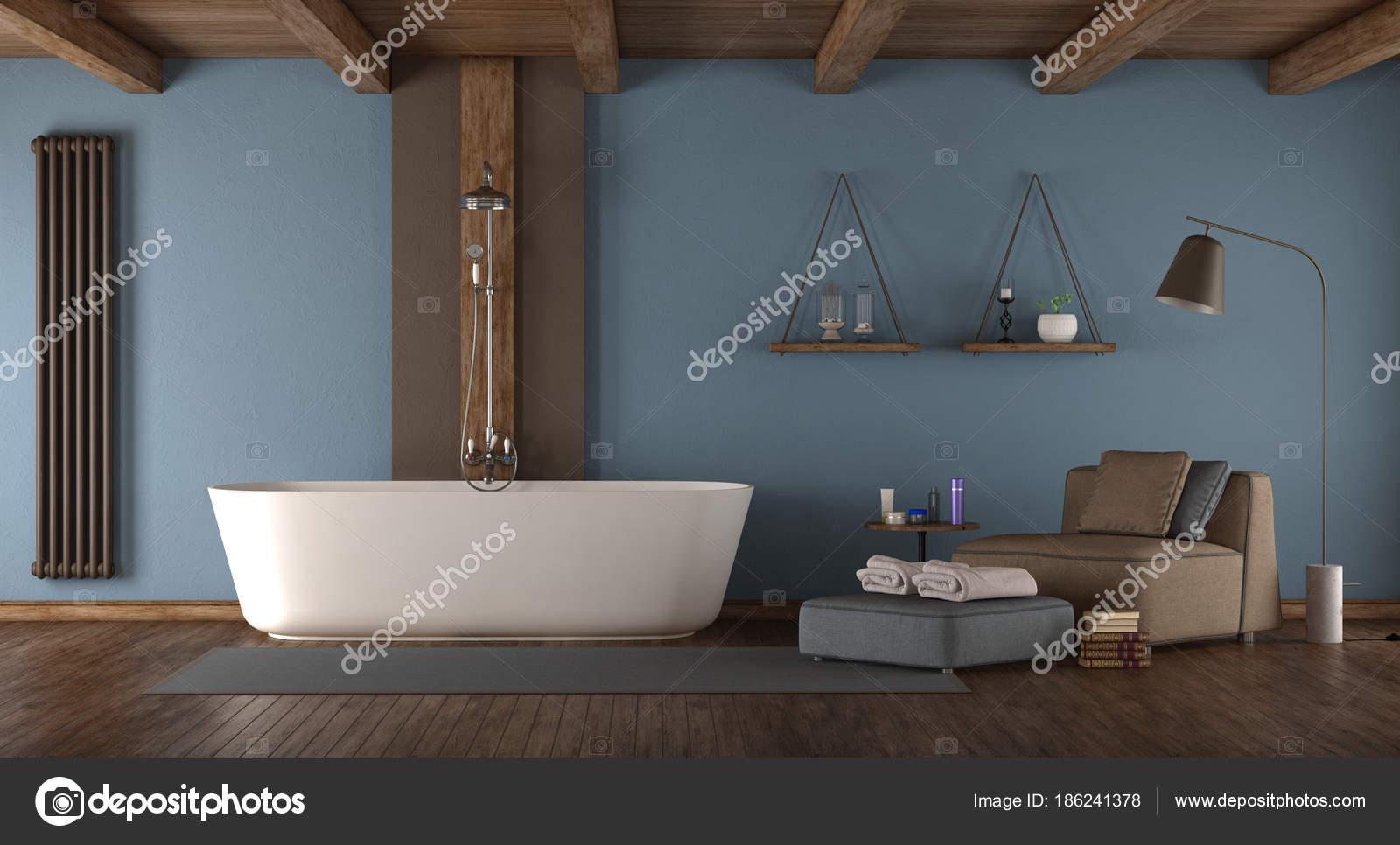 Bagno Beige E Blu : Blu bagno moderno con vasca da bagno u foto stock archideaphoto