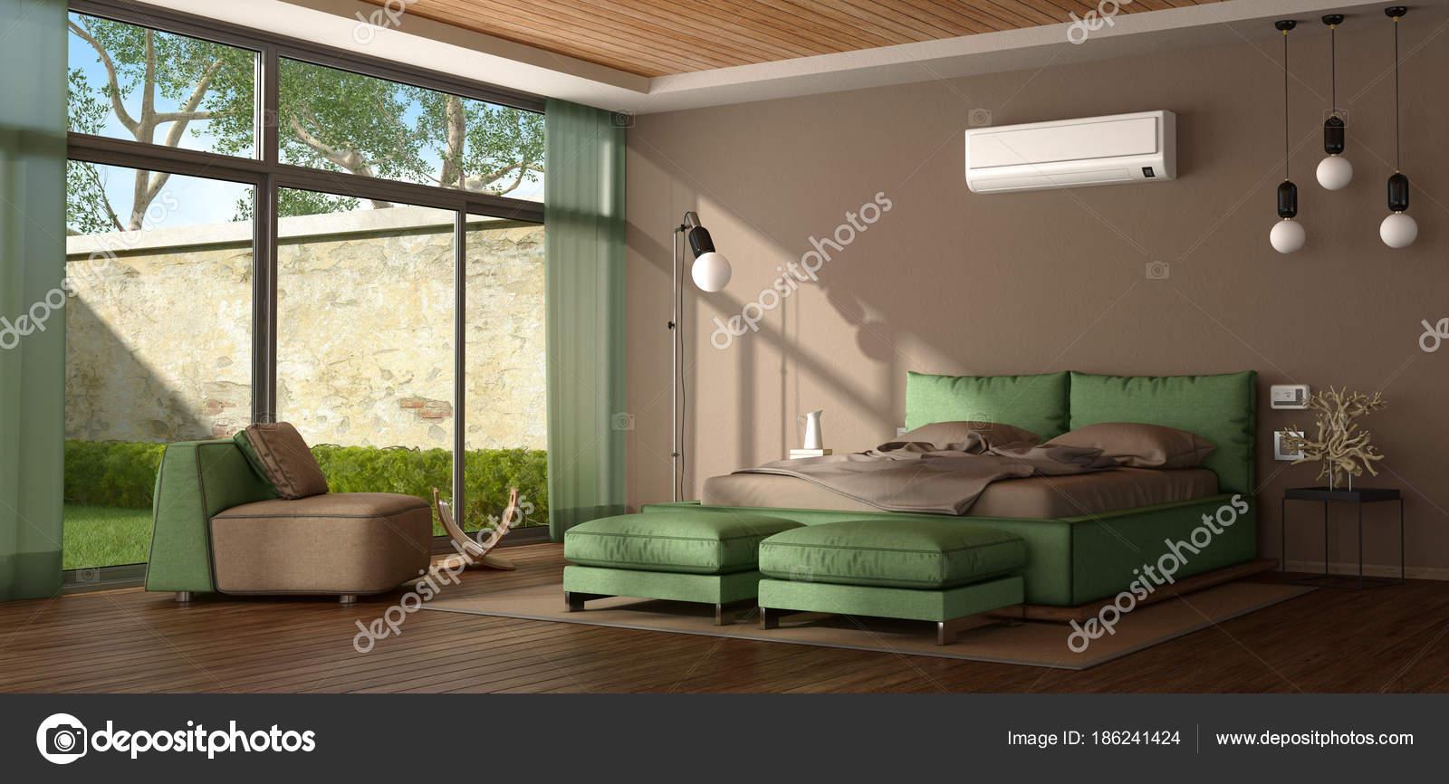 Camera Da Letto Moderna Marrone : Camera matrimoniale moderna marrone e verde u foto stock