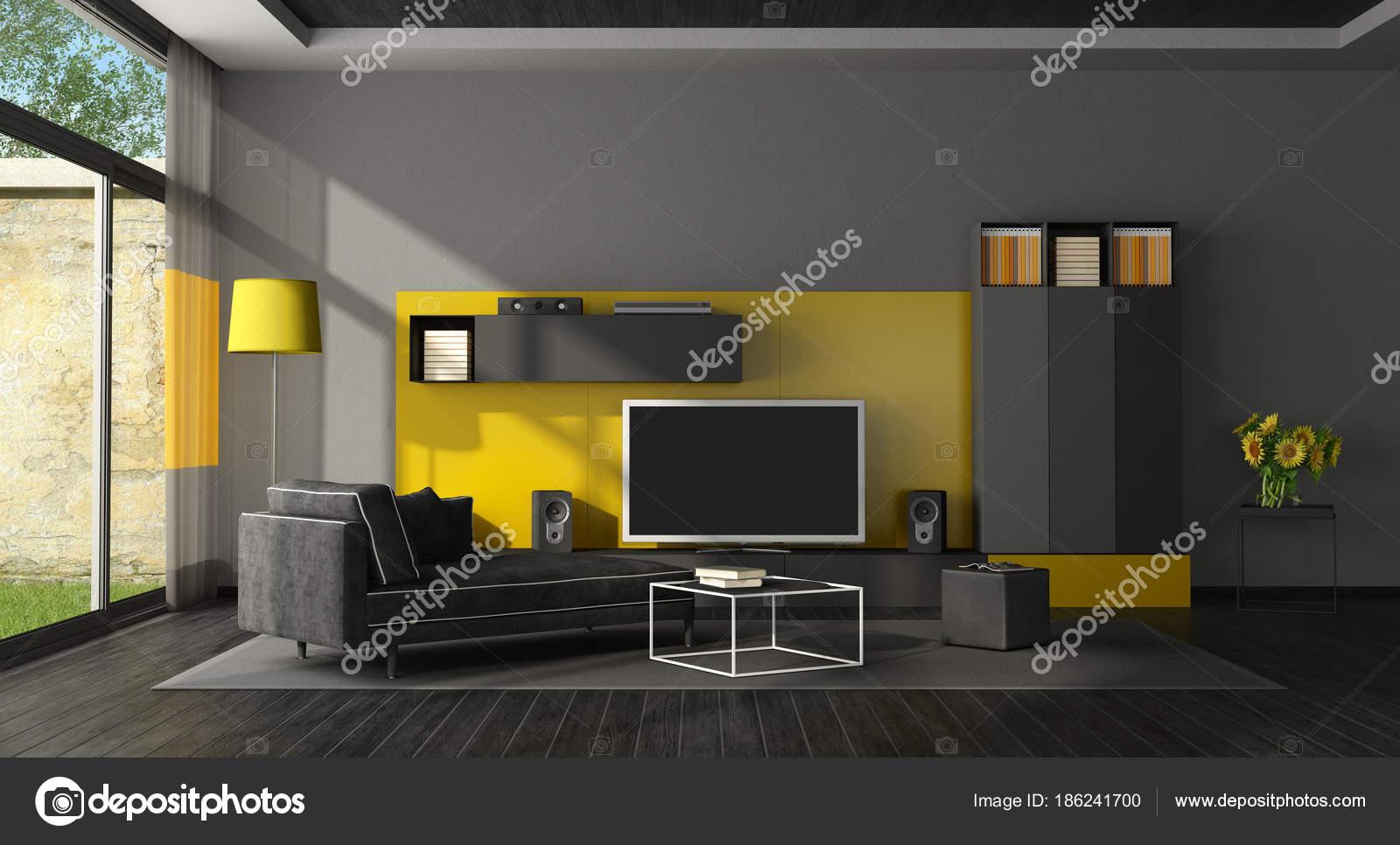 Schwarz und gelb Wohnzimmer mit Fernseher — Stockfoto ...