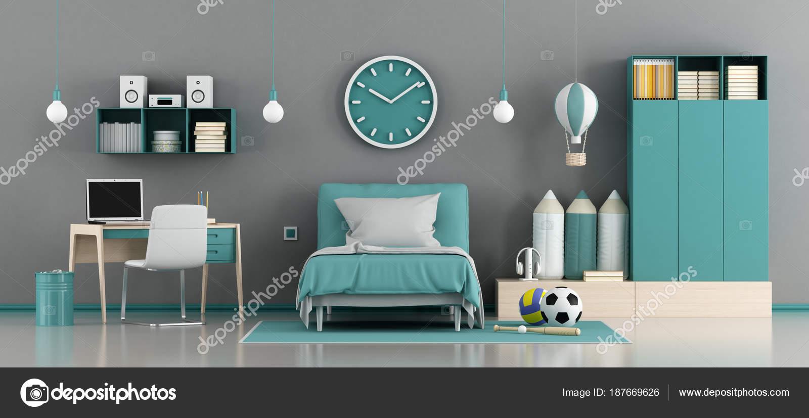 chambre denfant bleu et gris avec lit et bureau 3d rendu image de archideaphoto