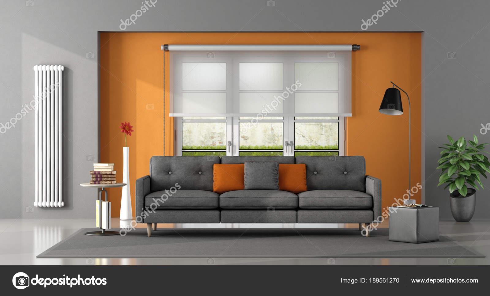Grau orange Wohnzimmer — Stockfoto © archideaphoto #189561270