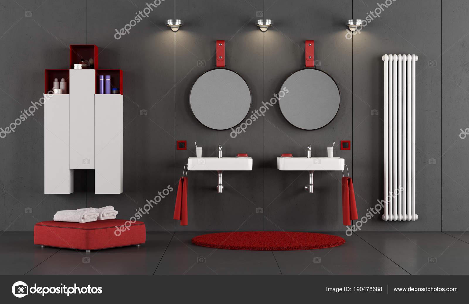 Salle de bains moderne avec deux lavabo double ...