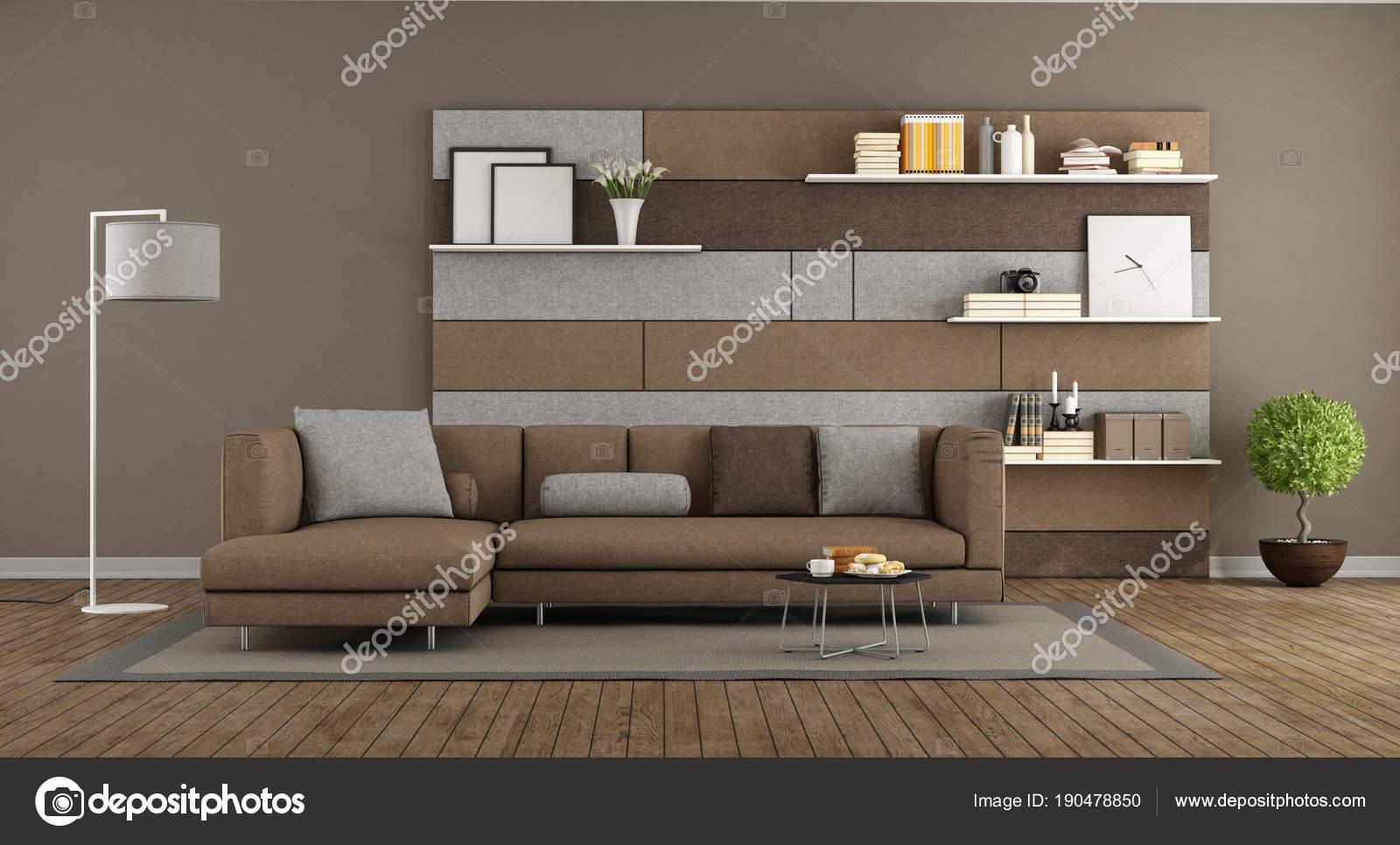 salotto moderno marrone e grigio foto stock