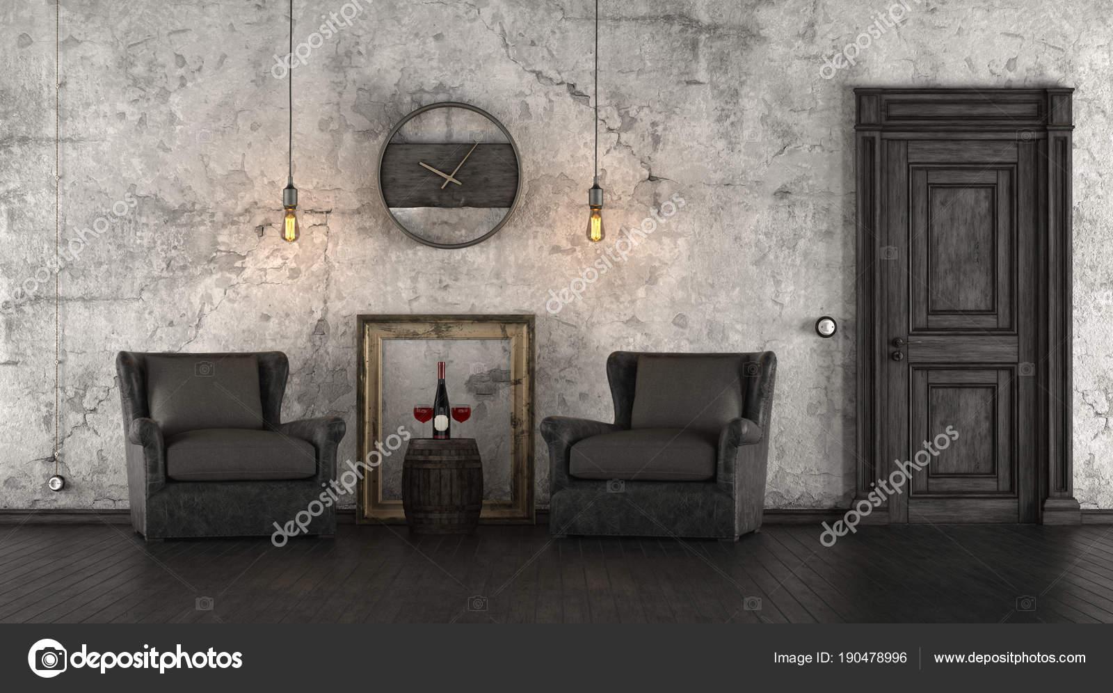Schwarz / weiß retro-Interieur — Stockfoto © archideaphoto #190478996