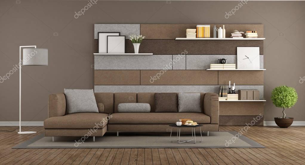 Salotto moderno marrone e grigio foto stock for Salotto grigio