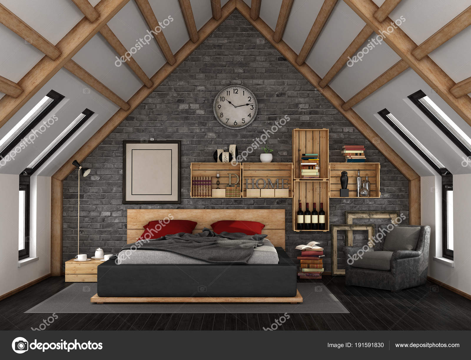 Mansarda con camera da letto — Foto Stock © archideaphoto ...