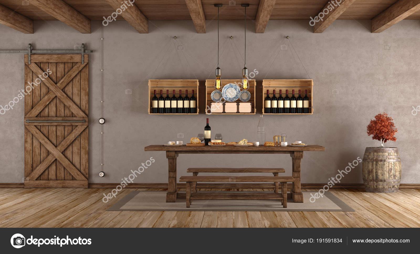 Eetkamer in landelijke stijl — Stockfoto © archideaphoto #191591834