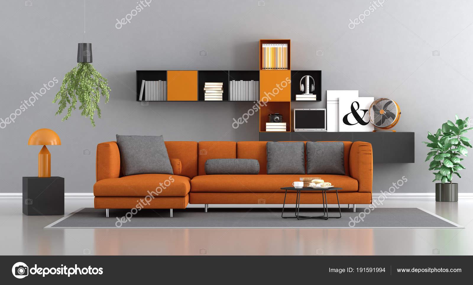 Moderne orange und grau lounge — Stockfoto © archideaphoto #191591994