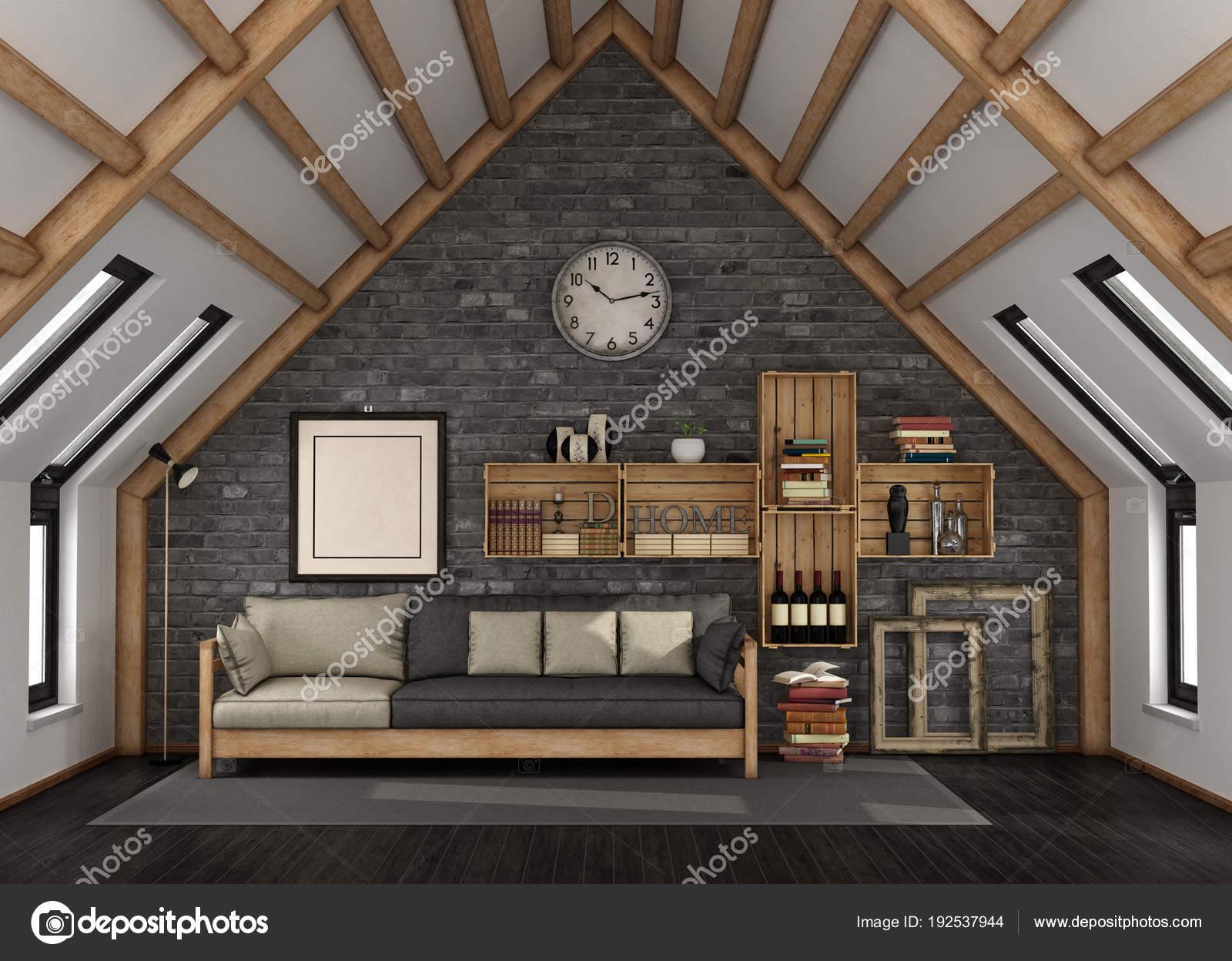 Wohnzimmer Im Dachgeschoss U2014 Stockfoto