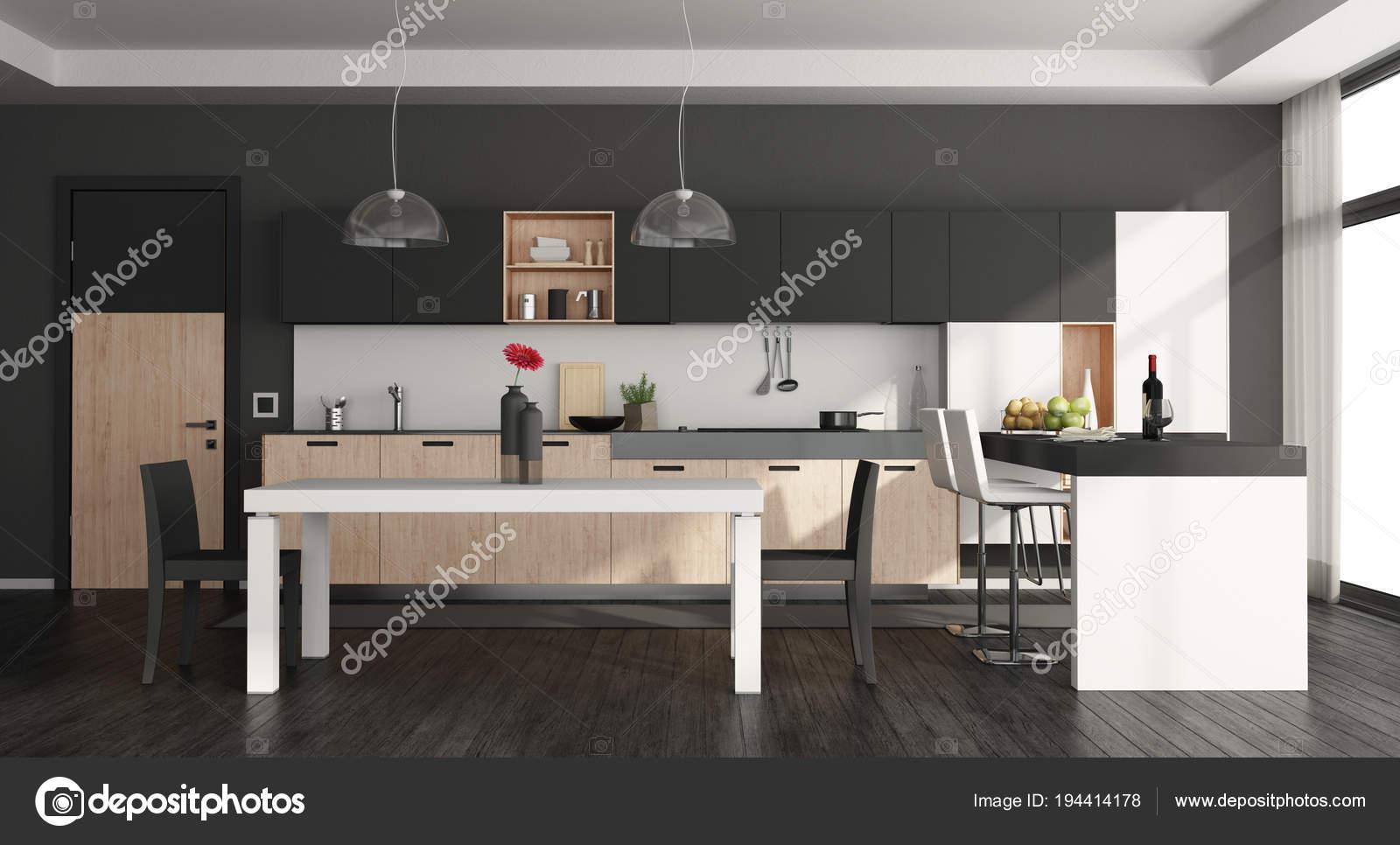 Keuken Moderne Zwart : Zwart wit moderne keuken u stockfoto archideaphoto