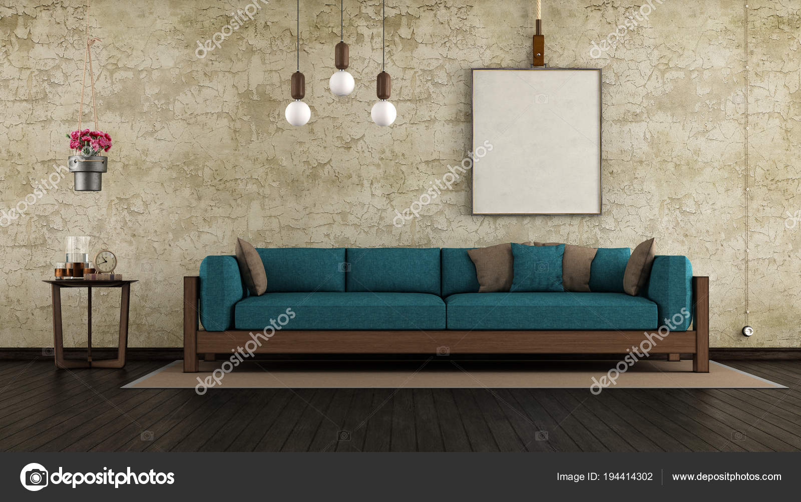 Living Room With Old Wall And Wooden Sofa Stock Photo