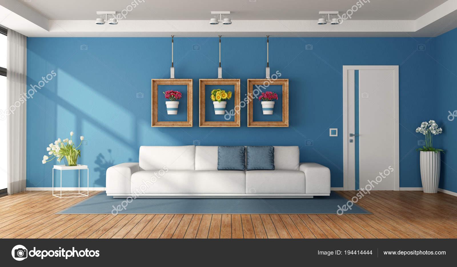wit en blauw woonkamer — Stockfoto © archideaphoto #194414444