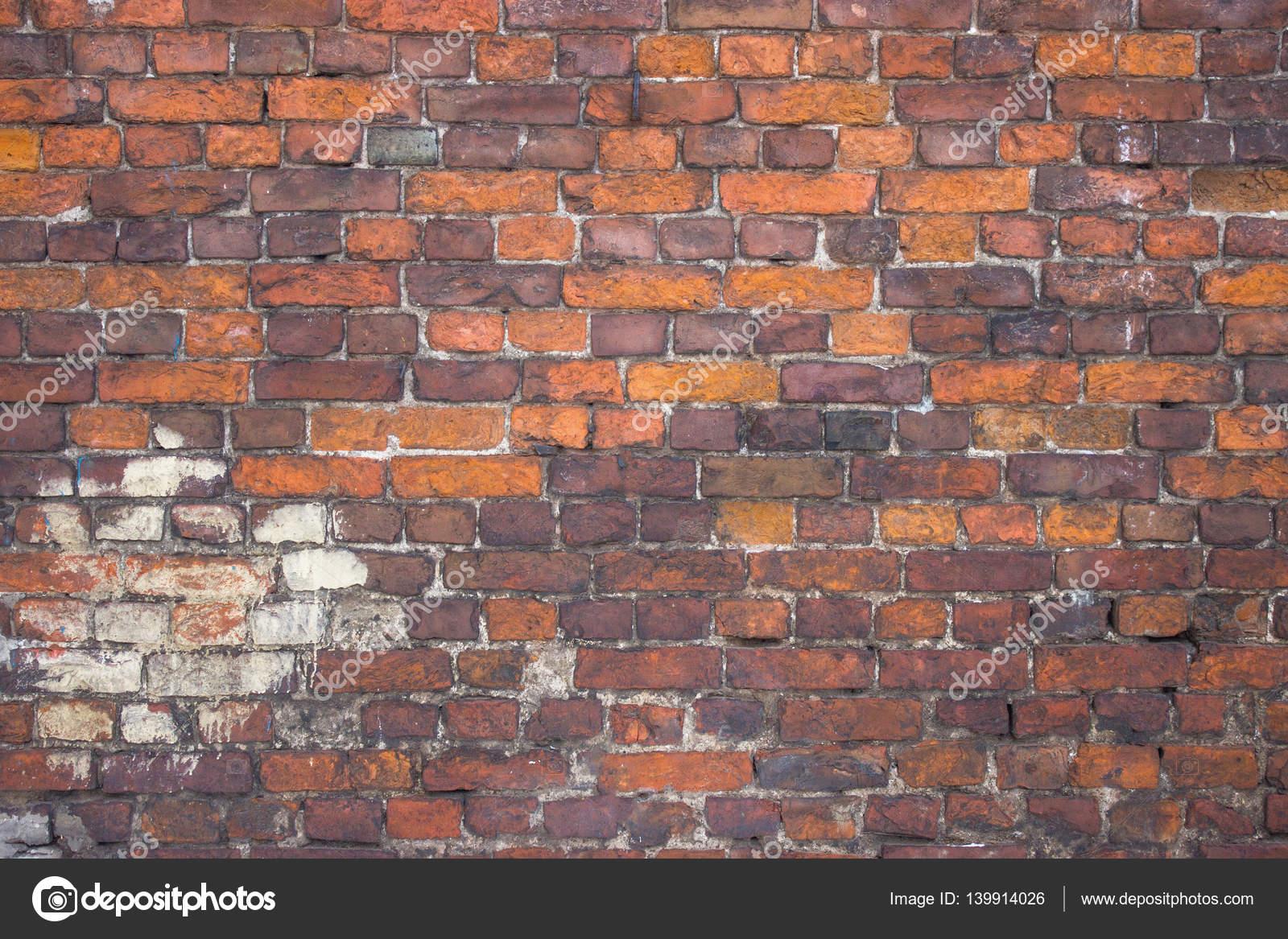 Mur De Brique Rouge, Extérieur Urbain, Surface Altérée Ancienne U2014 Photo