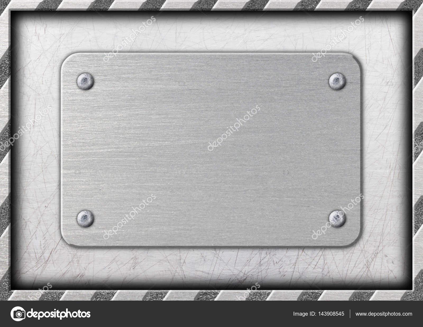 letrero de metal, marco rayado como fondo, placa de hierro — Foto de ...