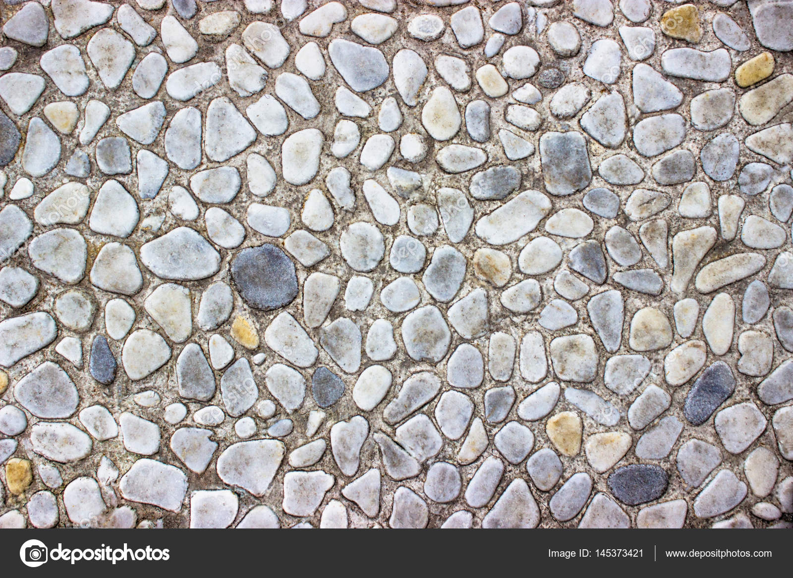 Wall Of Small Stones Gravel Gray Texture For Design Stock