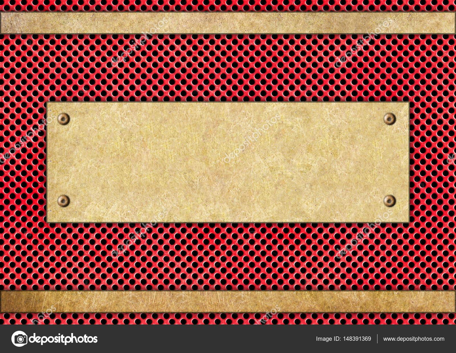 placa de metal en un enrejado rojo acero marco diseño de soluciones ...