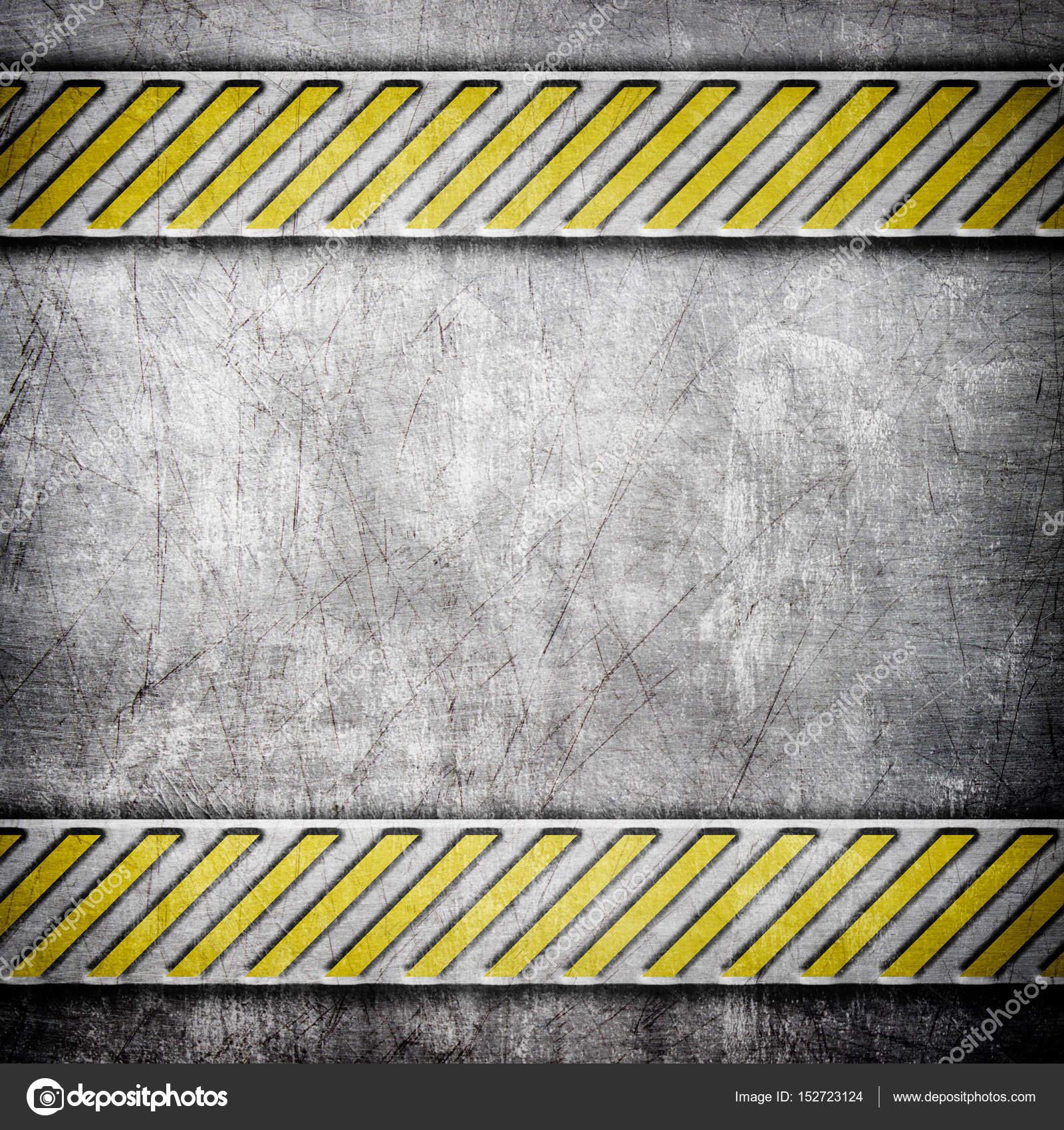 Eisen-Hintergrund mit gelben Färbung, metallische Textur Warnung ...