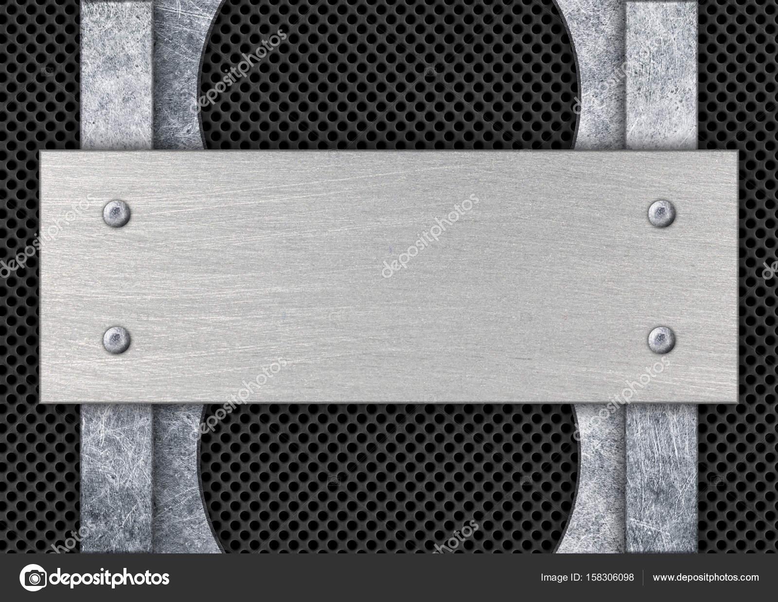 placas de metal en el marco de fondo, acero con malla, 3d, illus ...